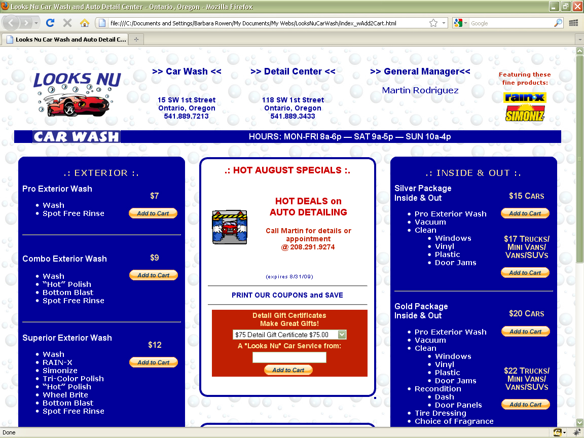 Looks Nu Car Wash - Web Site