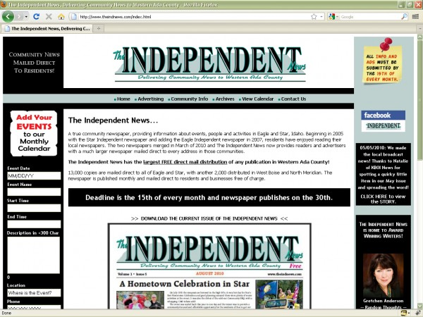 The Independent News' Website