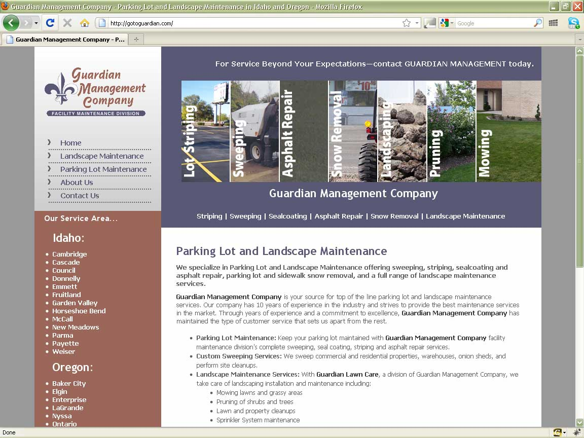 Guardian Management - Website Design