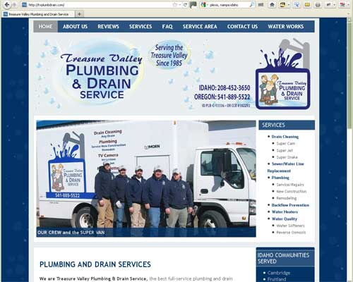 Original WordPress Website Design for Treasure Valley Plumbing and Drain Service