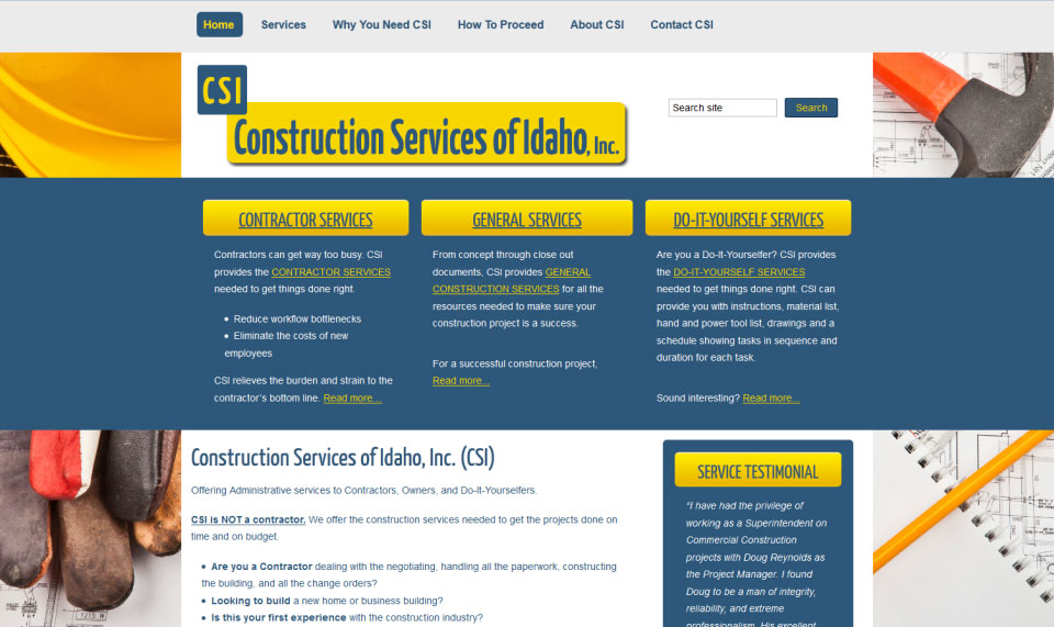 Construction Services of Idaho - Website Design