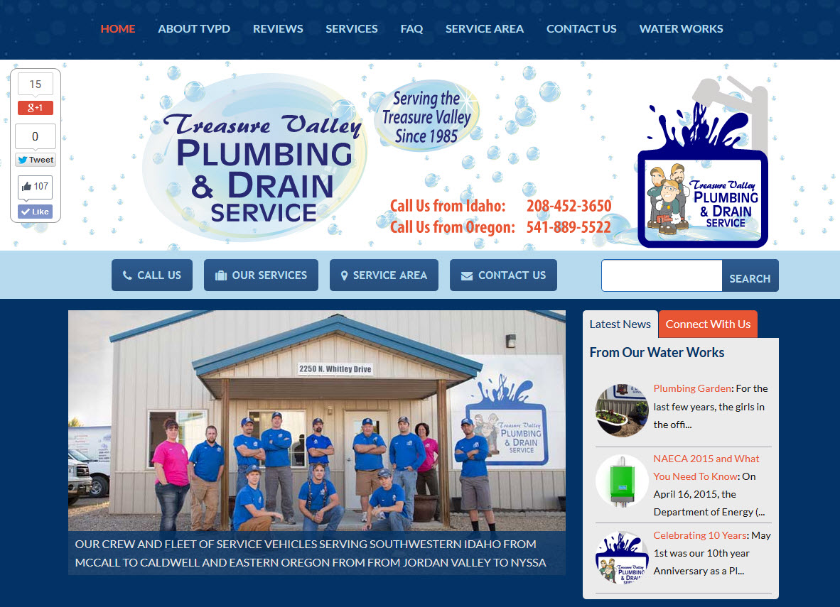 Treasure Valley Plumbing and Drain Service - Plumber Website Design