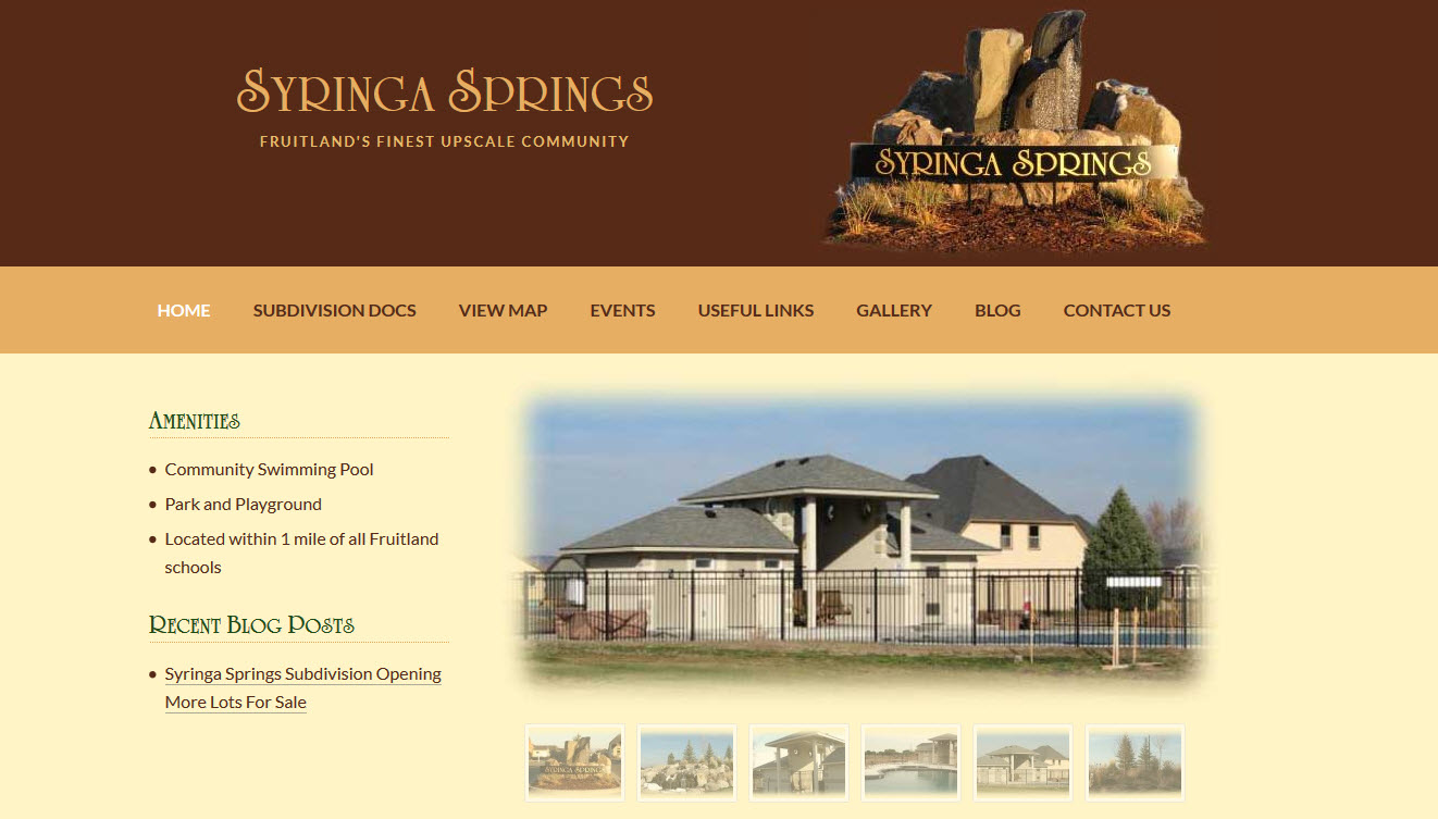 Syringa Springs Subdivision WordPress Website Design