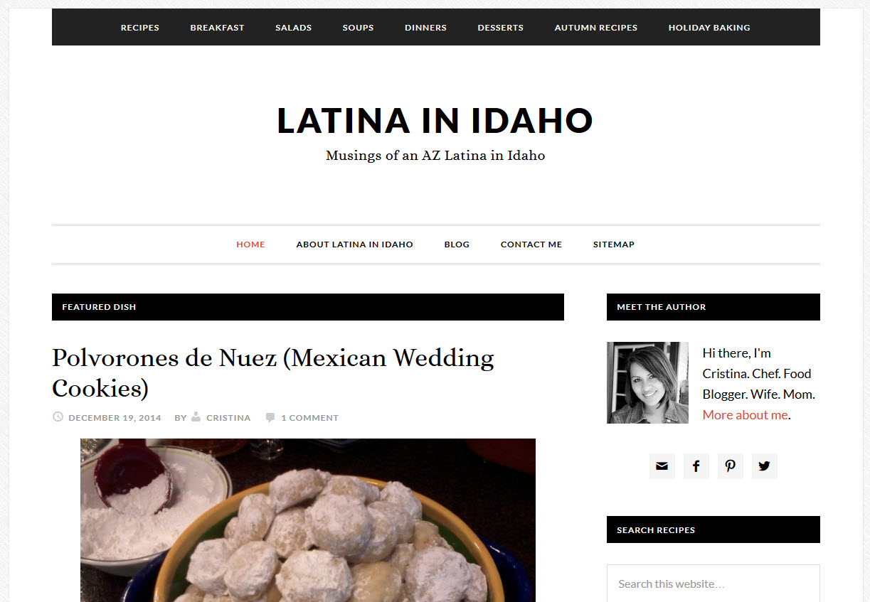 Latina in Idaho - Food Blogger Website Design