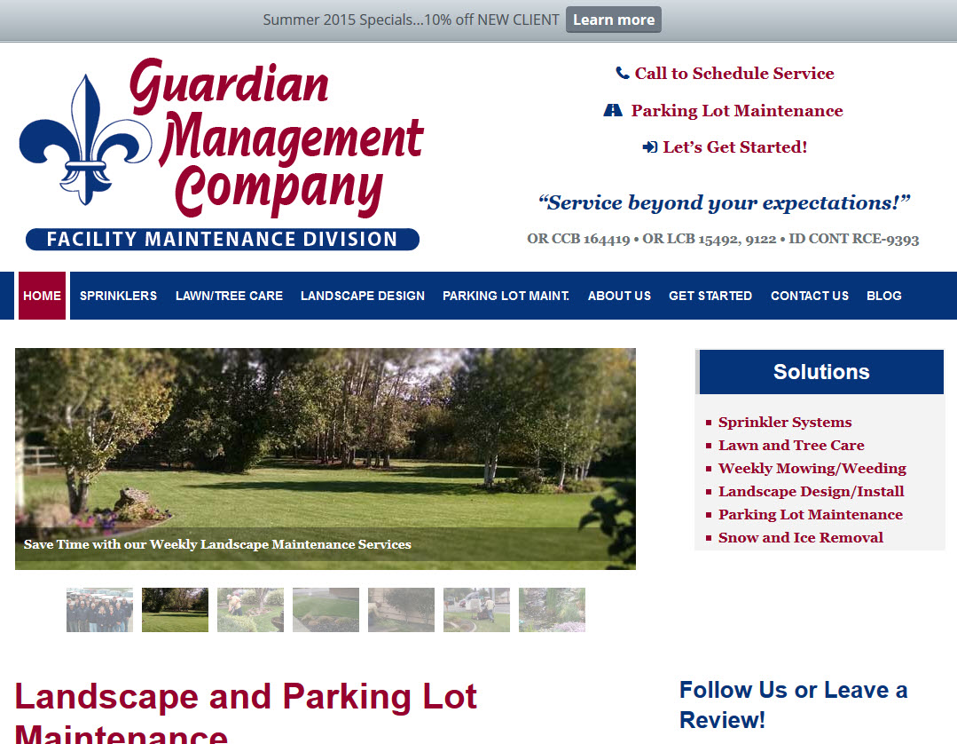 Guardian Management Company - Landscape Maintenance Website