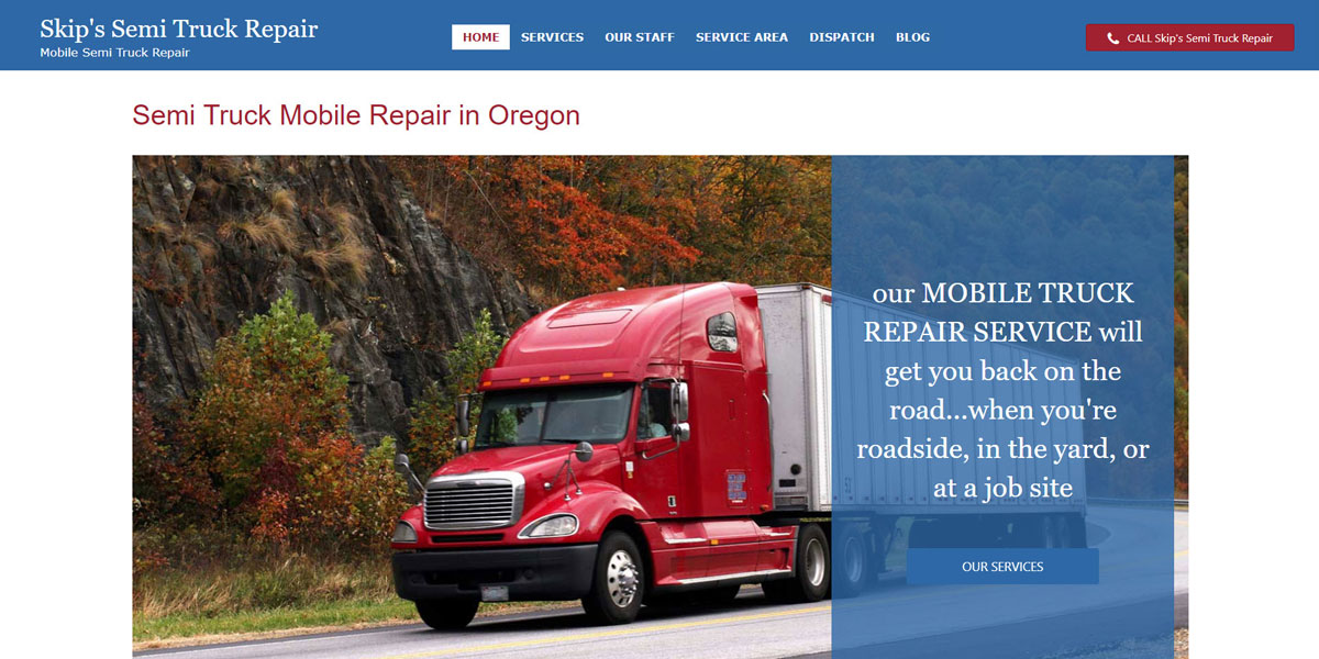 Skip's Semi Truck Repair Web Design Screenshot