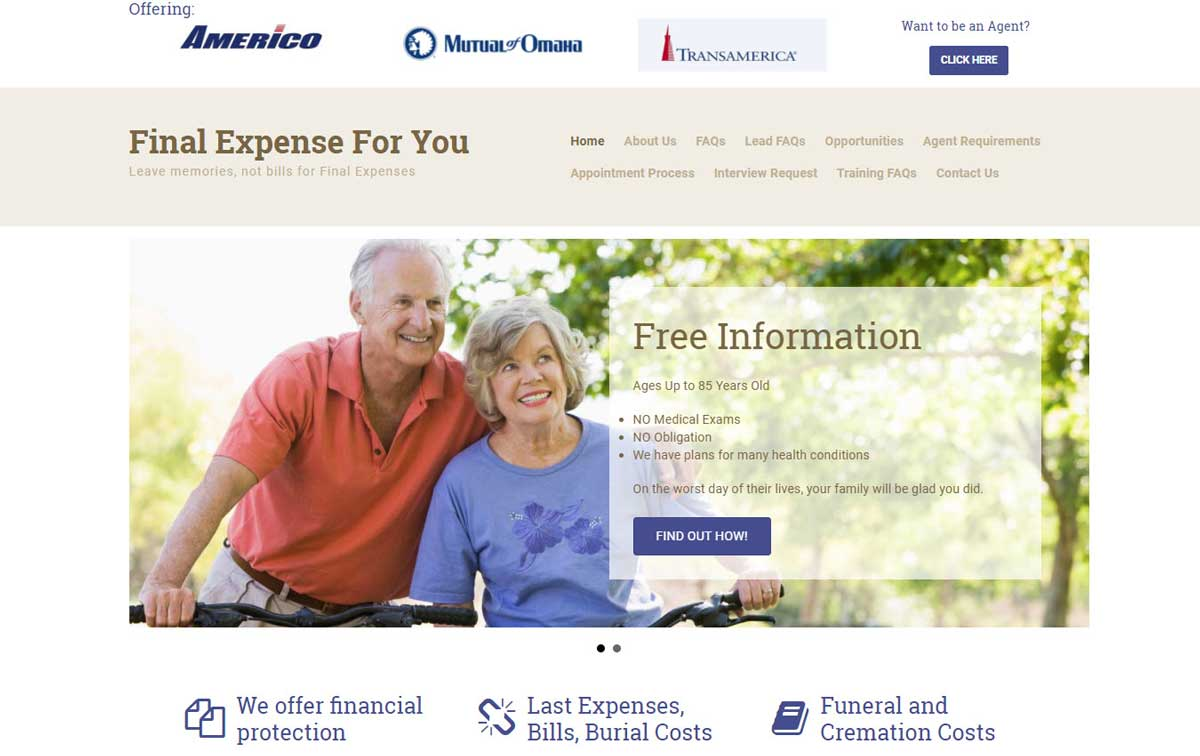 Final Expense For You Website Screenshot